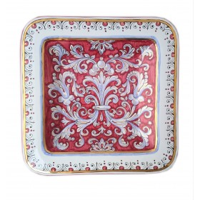 Square Deruta Red and Gold