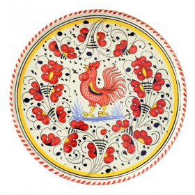 Pizza plate red Rooster