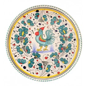Pizza plate green Rooster