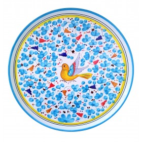 Pizza plate light blue Arabesco