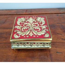 Square box with gold and ruby