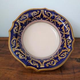 Ceramic scalopped bowl Blue