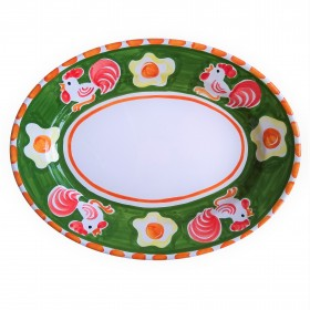 Oval platter Positano rooster