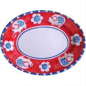 Oval platter Positano pig