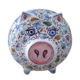 Ceramic piggy bank ancient Arabesco blu