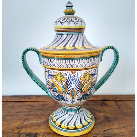 Ceramic vase with two handles and lid