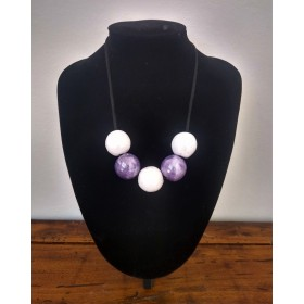 Ceramic necklace white and purple