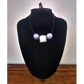 Ceramic necklace silver and purple
