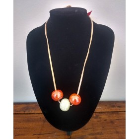 Ceramic necklace copper and ivory