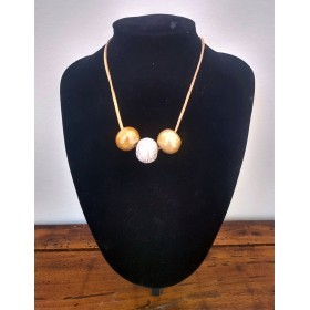 Ceramic necklace beige and silver