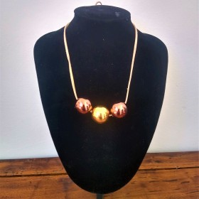 Ceramic necklace copper and gold